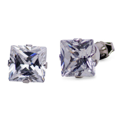 3.92 TCW Sterling Silver 7 mm Princess Cut CZ Square Stud Earrings