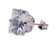11.24 TCW Sterling Silver 10mm Princess Cut CZ Square Stud Earrings