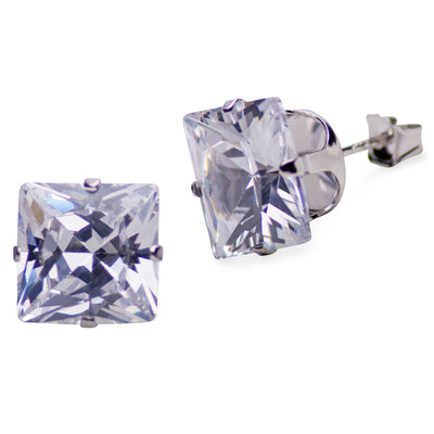 Sterling Silver Princess Cut Cubic Zirconia Earrings | SilverAndGold