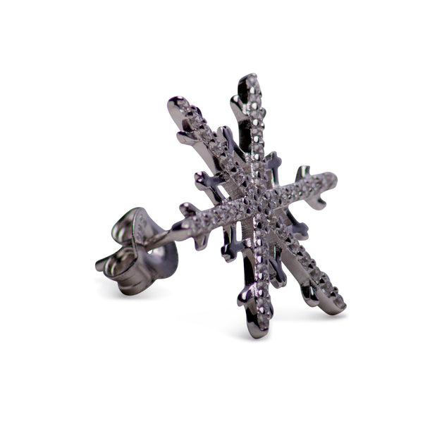 Sterling Silver Snowflake Cubic Zirconia Earrings | SilverAndGold