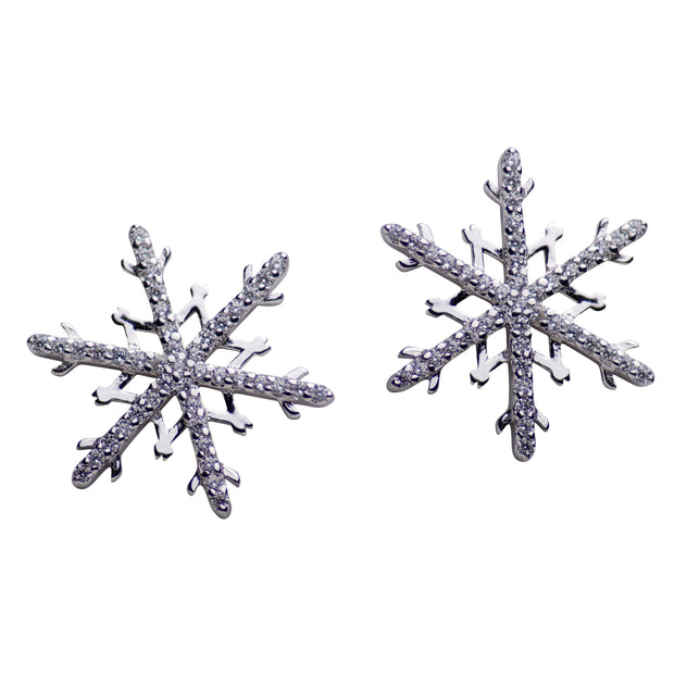 86 Stones Sterling Silver Snowflake Cubic Zirconia Stud Earrings