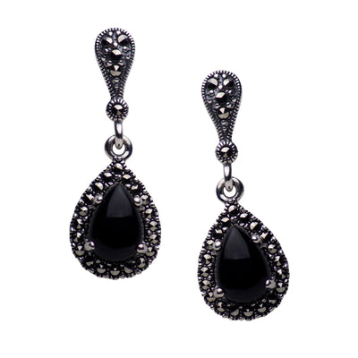 Sterling Silver Synthetic Black Onyx & Marcasite Teardrop Earrings