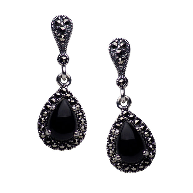 Created Black Onyx & Marcasite Teardrop Earrings | SilverAndGold