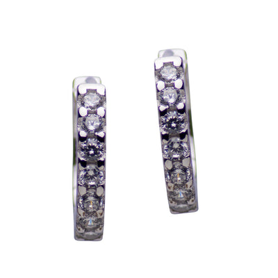 Sterling Silver and Cubic Zirconia Hinged Hoop Earrings
