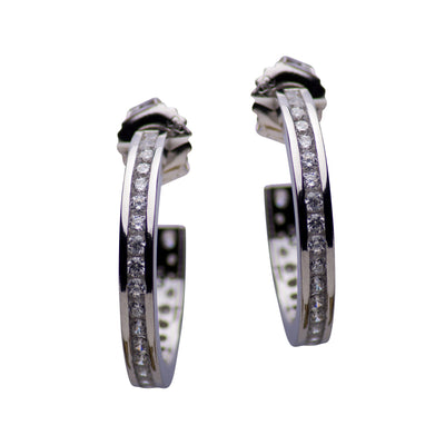 Sterling Silver and Cubic Zirconia Modern Hoop Earrings