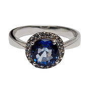 3.05 Carat Lab Created Blue Sapphire Round Halo Ring in Sterling Silver