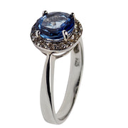 Created Blue Sapphire Halo Sterling Silver Ring | SilverAndGold