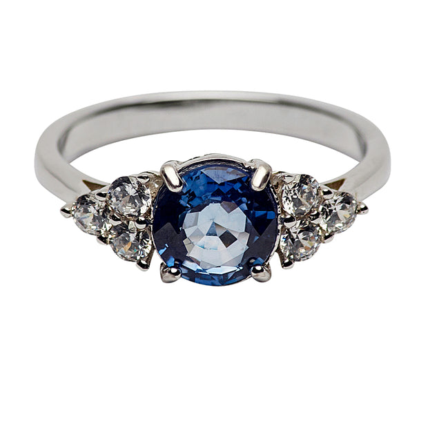 2.05 Carat Lab Created Blue Sapphire and Swarovski Crystal Sterling Silver Ring