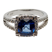 2.52 Carat Lab Created Blue Sapphire Cushion Cut Halo Ring in Sterling Silver