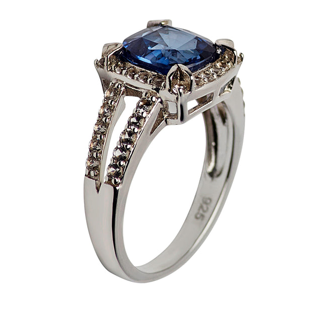 Created Blue Sapphire Sterling Silver Ring | SilverAndGold