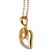 18K Yellow Gold Plated Sterling Silver and Crystal Heart Necklace