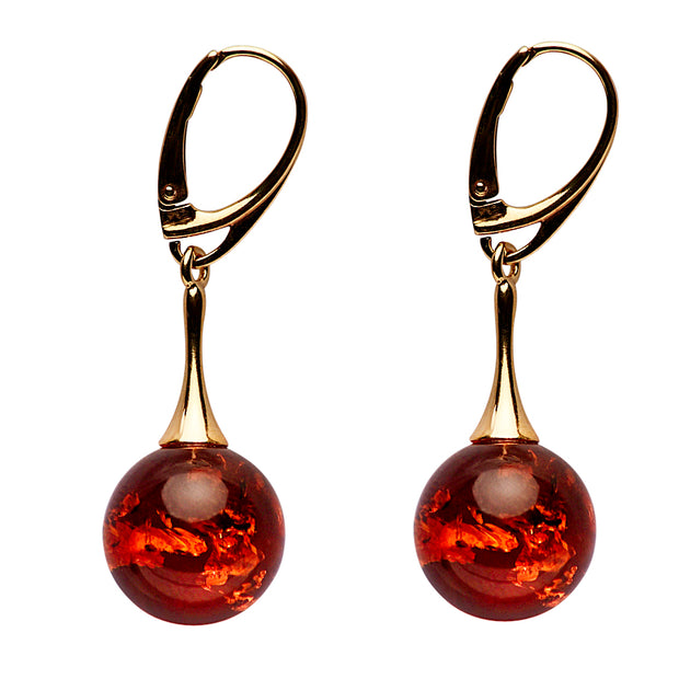 18K Yellow Gold Plated Amber Earrings | SilverAndGold