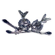 Sterling Silver, Black Onyx & Marcasite Birds On A Twig Brooch Pin