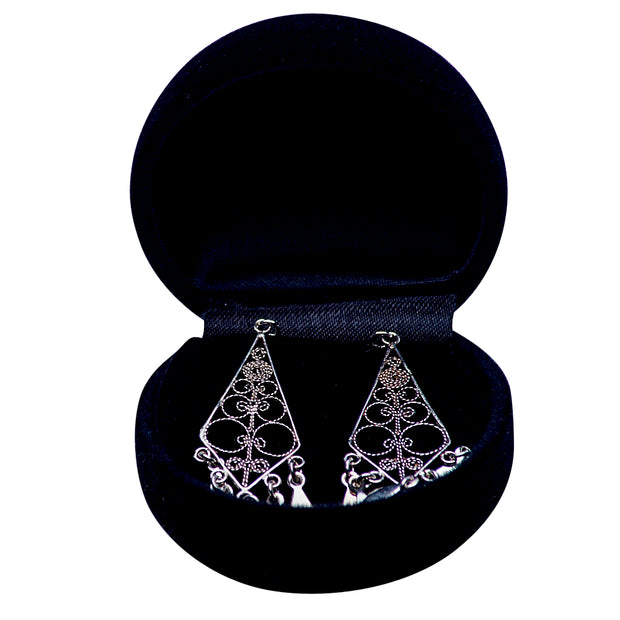French Diamond Sterling Silver Chandelier Earrings | SilverAndGold