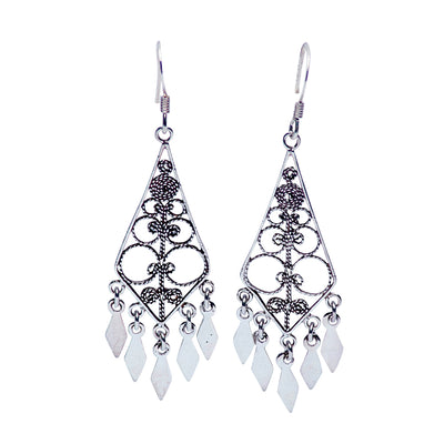Sterling Dangle Earrings with French Diamond Filigree Cut