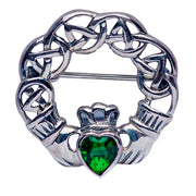 Sterling Silver And Emerald Green Swarovski Crystal Gaelic Friendship Brooch