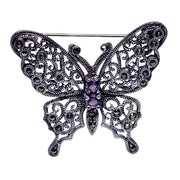 Sterling Silver Marcasite And Amethyst Butterfly Brooch Pin