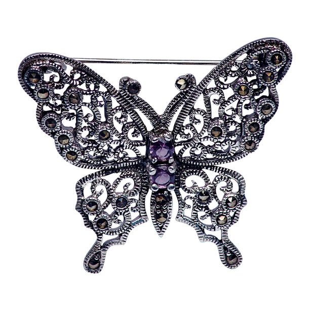 Amethyst and Marcasite Butterfly Sterling Silver Brooch Pin