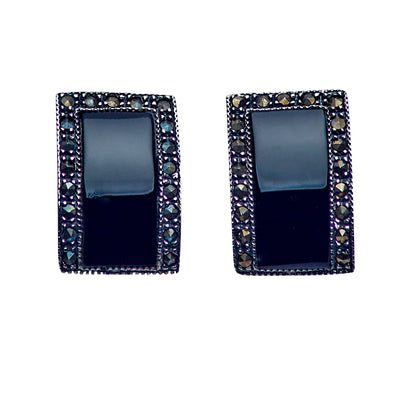 Black Onyx & Marcasite Silver Drop Earrings | SilverAndGold