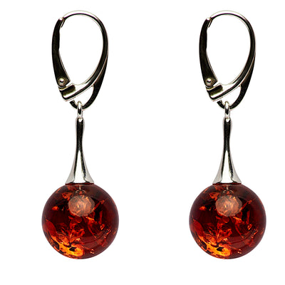 Sterling Silver & Amber Dangle Earrings | SilverAndGold