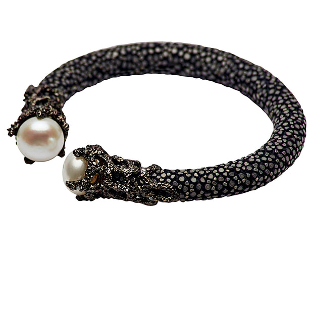 Stingray, Crystal & Pearl Bangle Bracelet