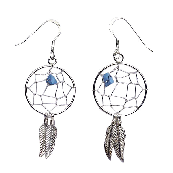 Sterling Silver & Turquoise Dreamcatcher Earrings | SilverAndGold