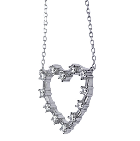 Sterling Silver & Swarovski Crystal Heart Necklace 16""
