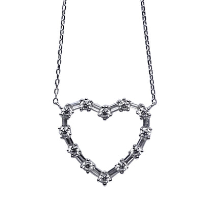Sterling Silver & Crystal Heart Necklace 16""