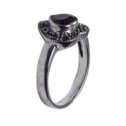 Marcasite and Garnet Heart Ring in Sterling Silver