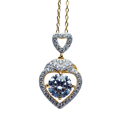 18K Yellow Gold Over Sterling Silver Swarovski Crystal Heart Necklace 16""