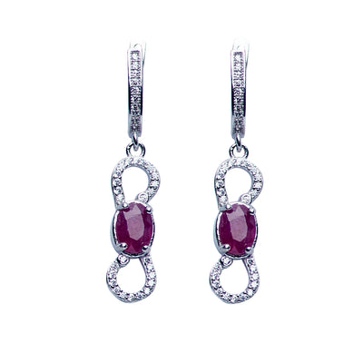 Sterling Silver, Swarovski & Ruby Dangle Earrings