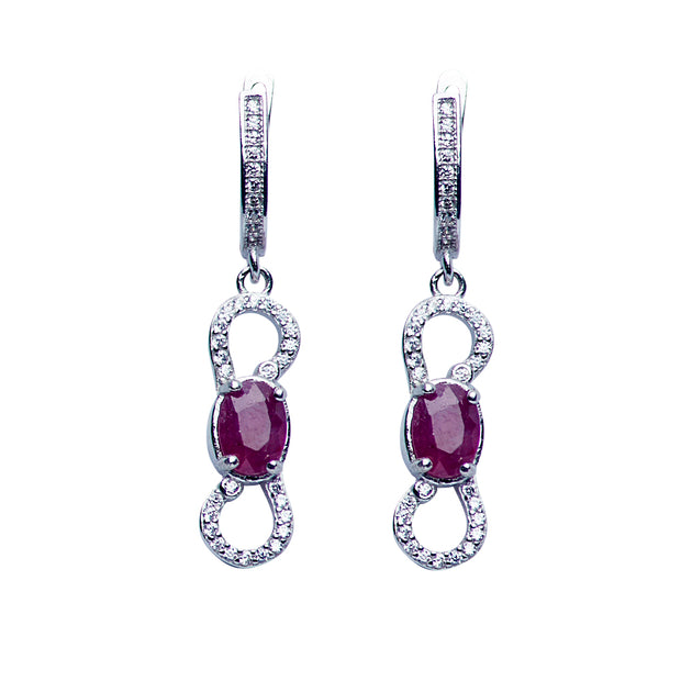Swarovski & Ruby Dangle Earrings in Sterling Silver | SilverAndGold