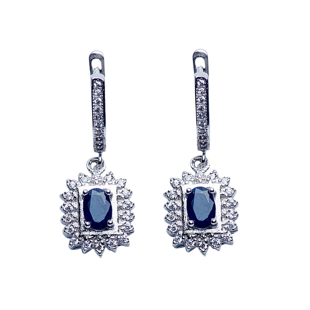 Sterling Silver Swarovski & Blue Sapphire Regal Dangle Earrings