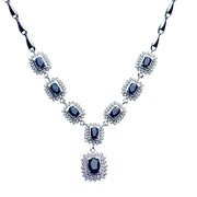 Sterling Silver Swarovski & Blue Sapphire Regal Necklace 18""