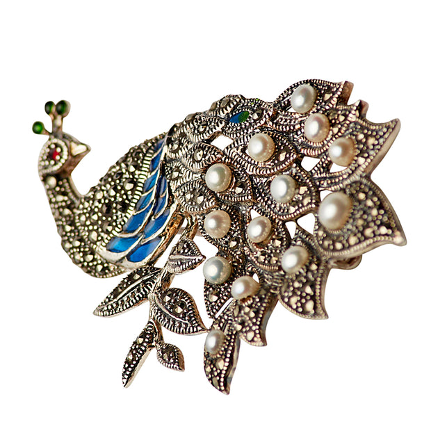 Cultured Pearl, Marcasite, and Gemstone Sterling Silver Peacock Pin