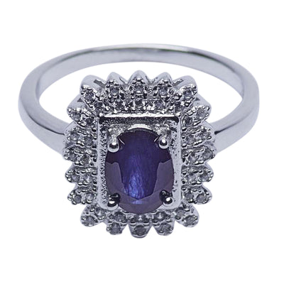 Blue Sapphire & Crystal Victorian Style Ring | SilverAndGold
