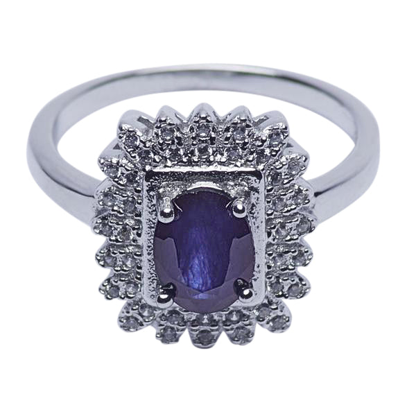 Sterling Silver Swarovski & Blue Sapphire Regal Ring