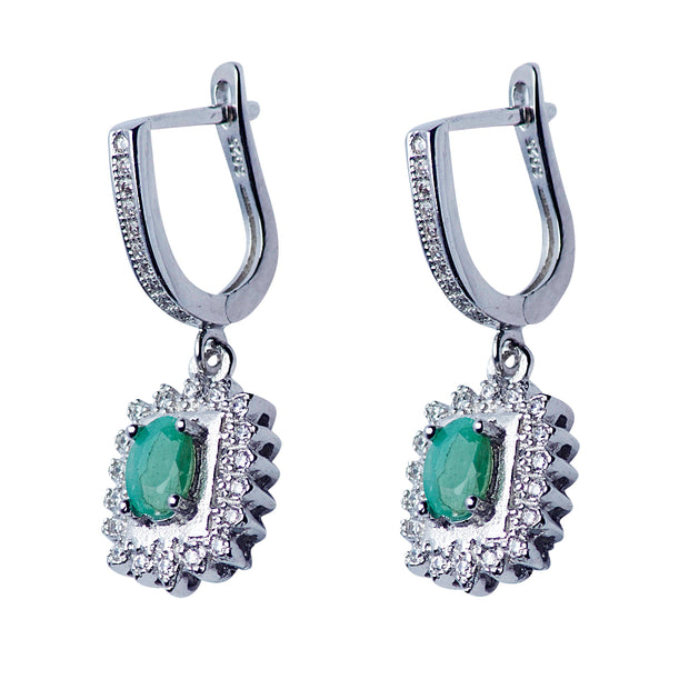 Sterling Silver Swarovski & Emerald Regal Dangle Earrings