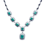 "18"" Swarovski & Emerald Regal Necklace in Sterling Silver"