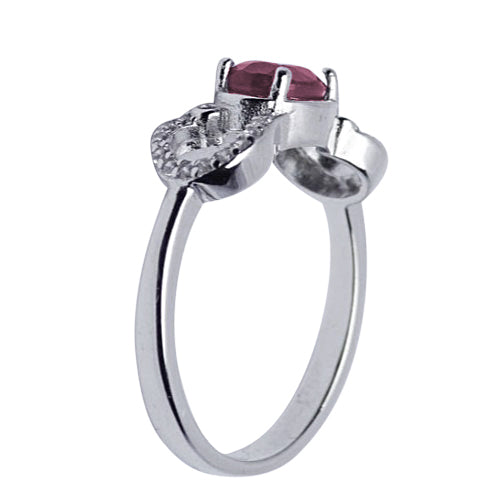 Swarovski & Ruby Solitaire Ring in Sterling Silver