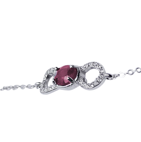 "7"" Swarovski & Ruby Bracelet in Sterling Silver"