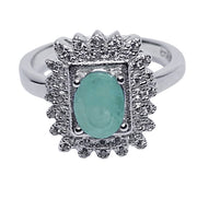 Emerald & Crystal Victorian Style Ring | SilverAndGold