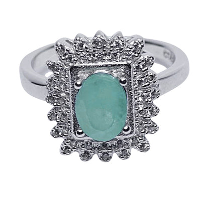 Swarovski & Emerald Regal Ring in Sterling Silver