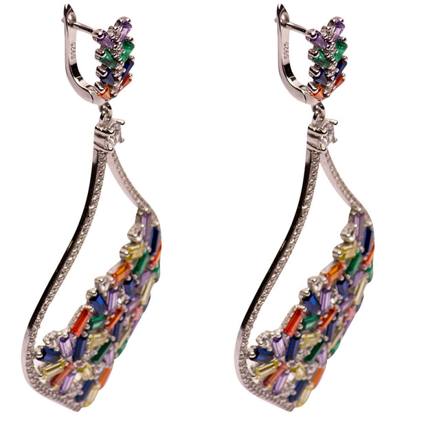 Colorful Crystal Sterling Silver Chandelier Earrings | SilverAndGold