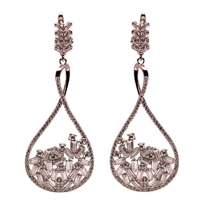 Art Deco Crystal Sterling Silver Chandelier Earrings | SilverAndGold