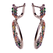 Colorful Art Deco Crystal Chandelier Earrings | SilverAndGold
