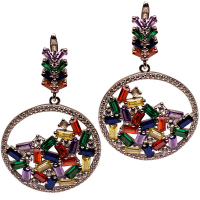 Colorful Art Deco Style Hand-Cut Crystal Sterling Silver Chandelier Earrings
