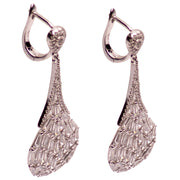 Art Deco Style Hand-Set Diamond Simulant Sterling Silver Dangle Earrings