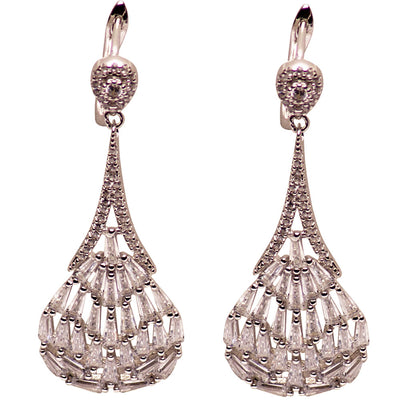 Art Deco Style Hand-Set Crystal Sterling Silver Dangle Earrings
