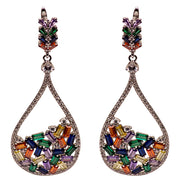 Colorful Art Deco Crystal Teardrop Earrings | SilverAndGold